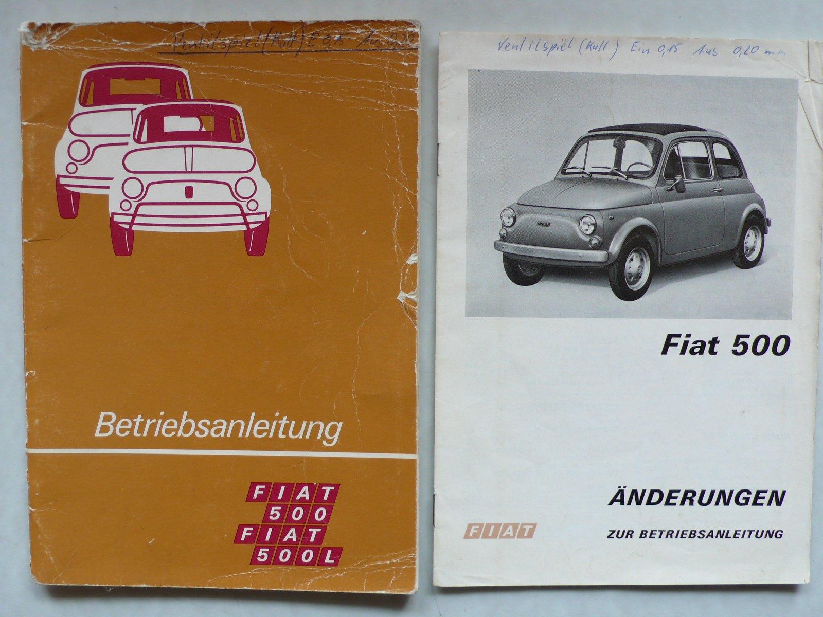 Fiat 500 L - Betriebsanleitung mit Schmier- und Schaltplan + Heft ...