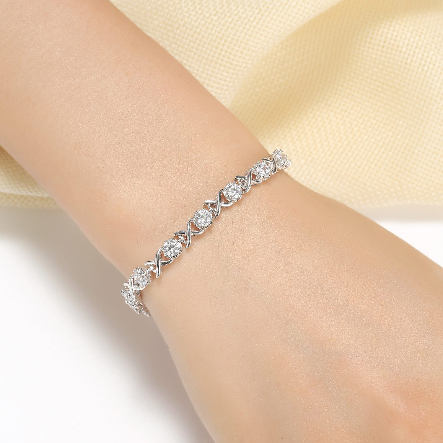 Caperci Sterling Silver Cubic Zirconia Bracelets for Women, Perfect Jewelry Gifts for Her