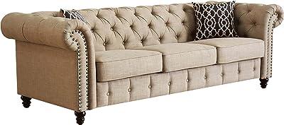ACME Aurelia Beige Linen Sofa with 2 Pillows