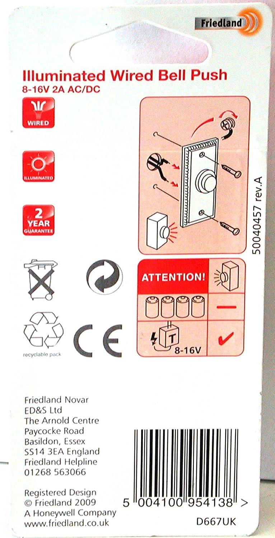 Friedland Illunminated Wired Brass Bell Push Benton Model D667uk Wiring Diagram Doorbell Buttons