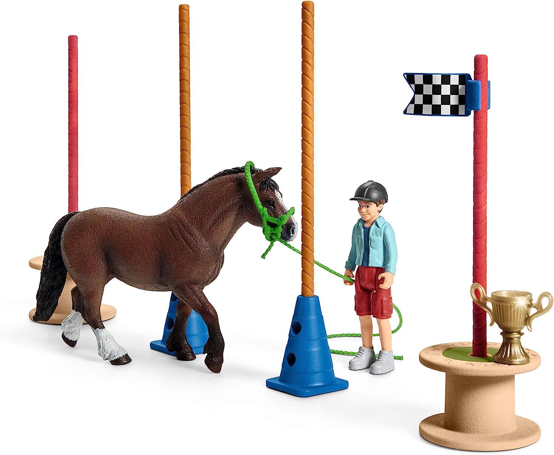 Schleich Farm World Spielfigur Training Rennen Pferde Spielzeug Pony 42482 NEU