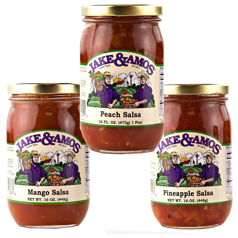 Jake & Amos Fruit Salsa Variety Pack 16 oz. Mango, Pineapple, Peach (1 Jar of Each) by Jake & Amos®