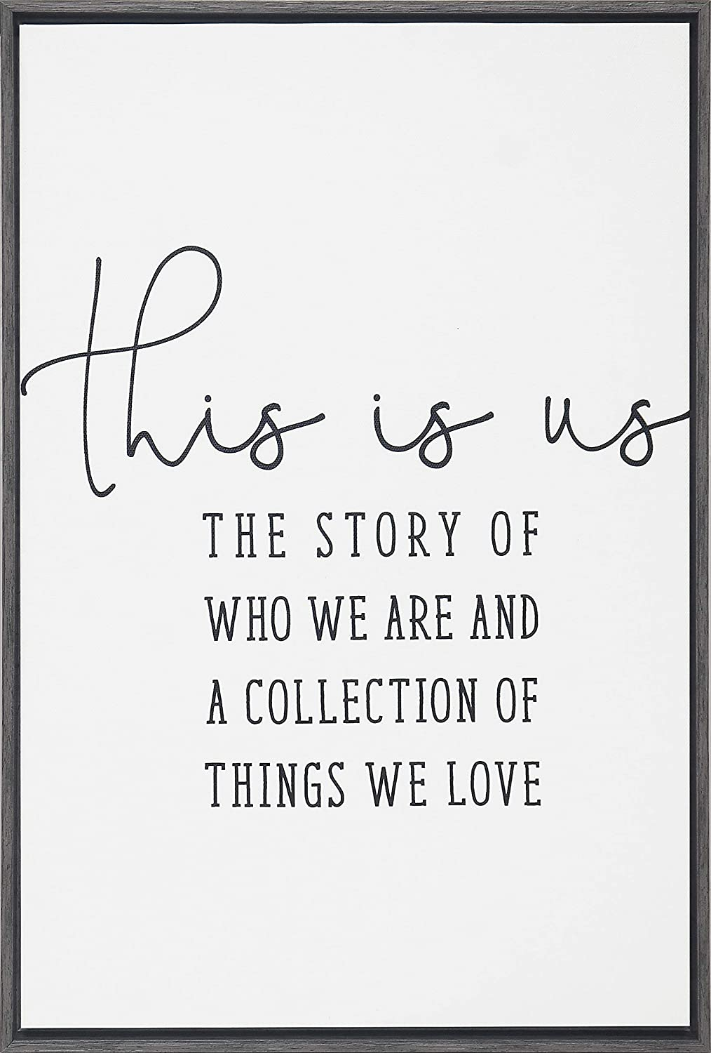 Homekor This is Us Story - The Story of Who We are and A Collection of Things We Love - Inspirational Quotes Framed Wall Art Canvas Print 18 x 12