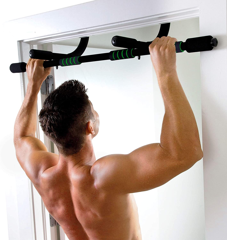 Pure Fitness Adjustable Multi-Purpose Doorway Pull-Up Bar in Black (8733WB)