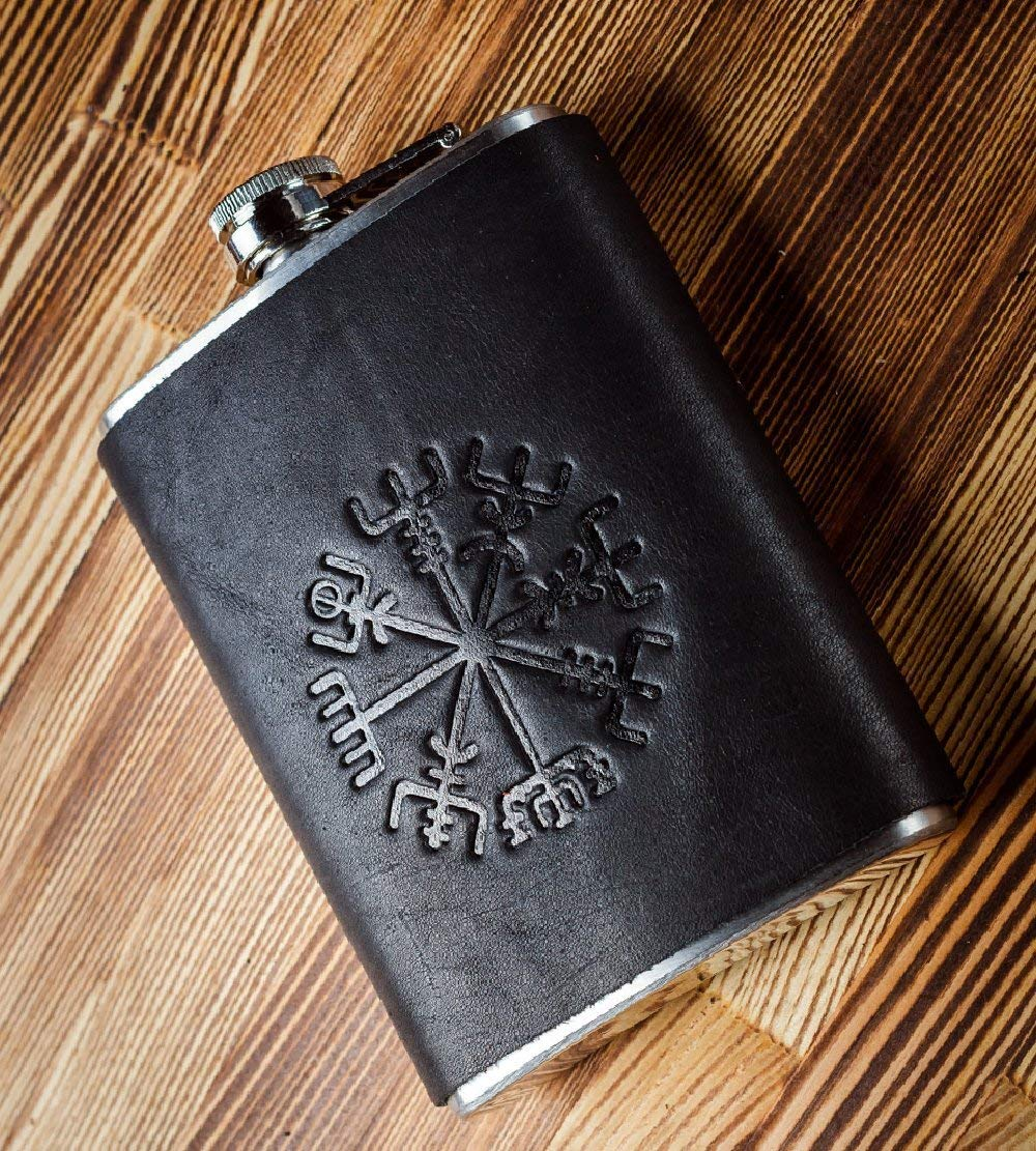 Stainless Steel Flask - Black Leather Flask 8oz - Hip Flask - Pocket Liquor Flask - Flasks for Men 8 oz