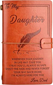 To My Daughter Leather Journal from Dad - Enjoy the Ride and Never Forget the Way Home Notebook - 136 Page Travel Diary Journal Sketch Book Graduation Back to School Gift for Girls(from Dad)