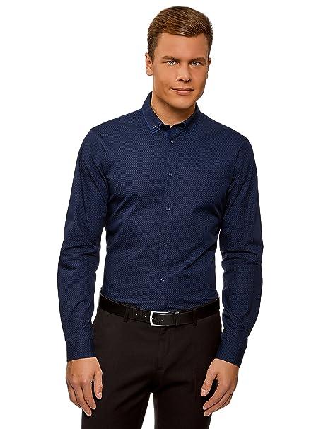oodji Ultra Hombre Camisa Slim de Jacquard oY7nKJSz