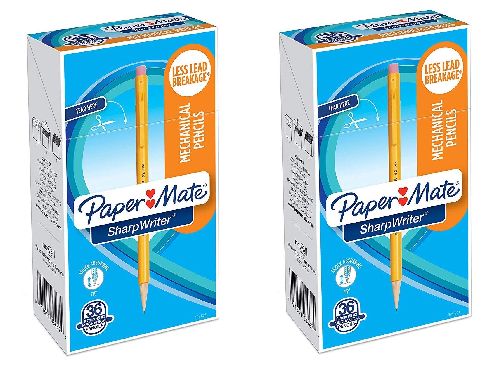 Mechanical Pencils Sharp Writer, 0.7mm, HB Number 2, Yellow, 1921221, 36 Count by Paper Mate