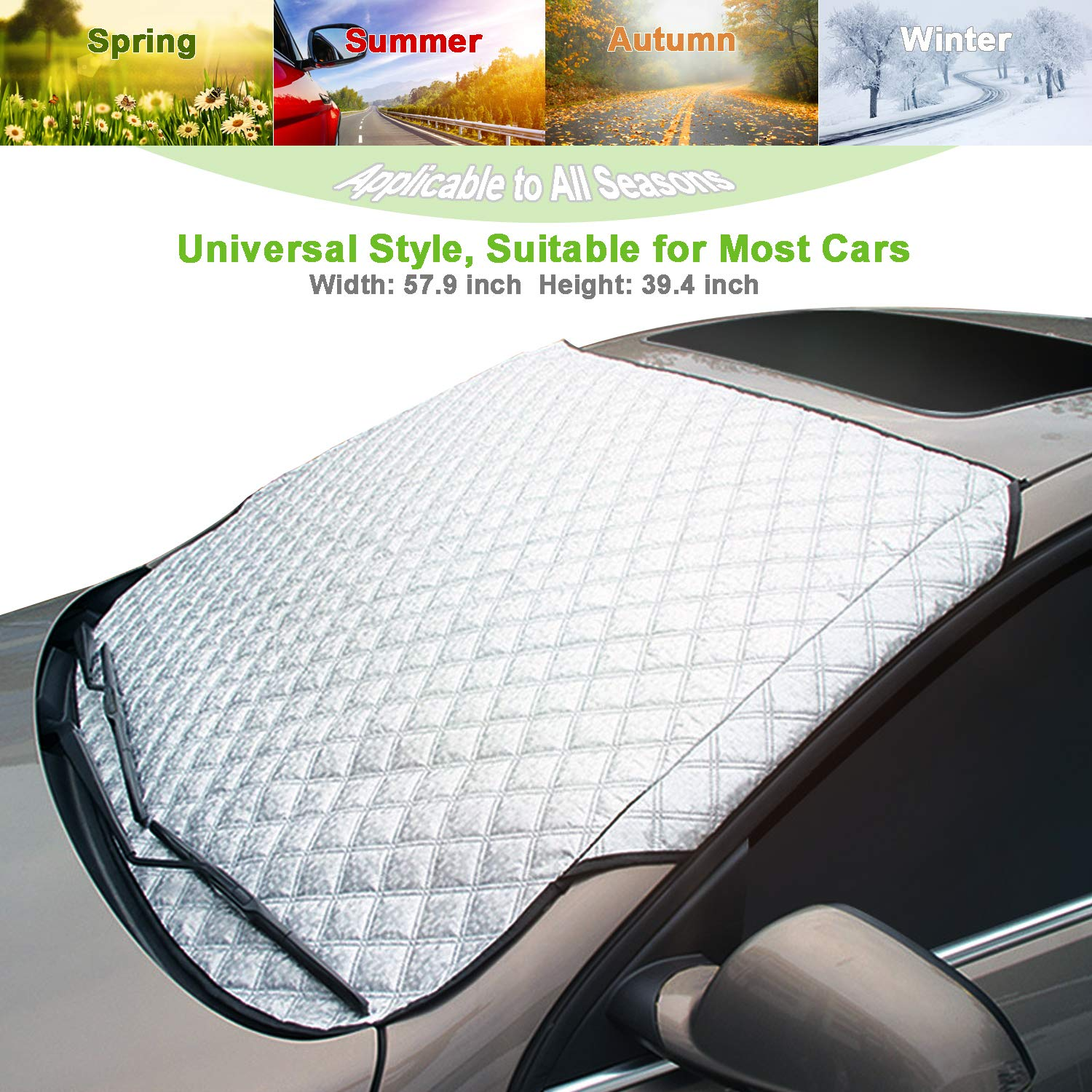 AMEIQ Car Windshield Window Sun Shade, Snow Cover, All Seasons Windscreen Protector, Best for Most Car Auto Vehicle SUV (THICK) CS