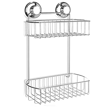 HASKO Accessories   Shower Caddy With Suction Cup   304 Stainless Steel  2Tier Basket For Bathroom