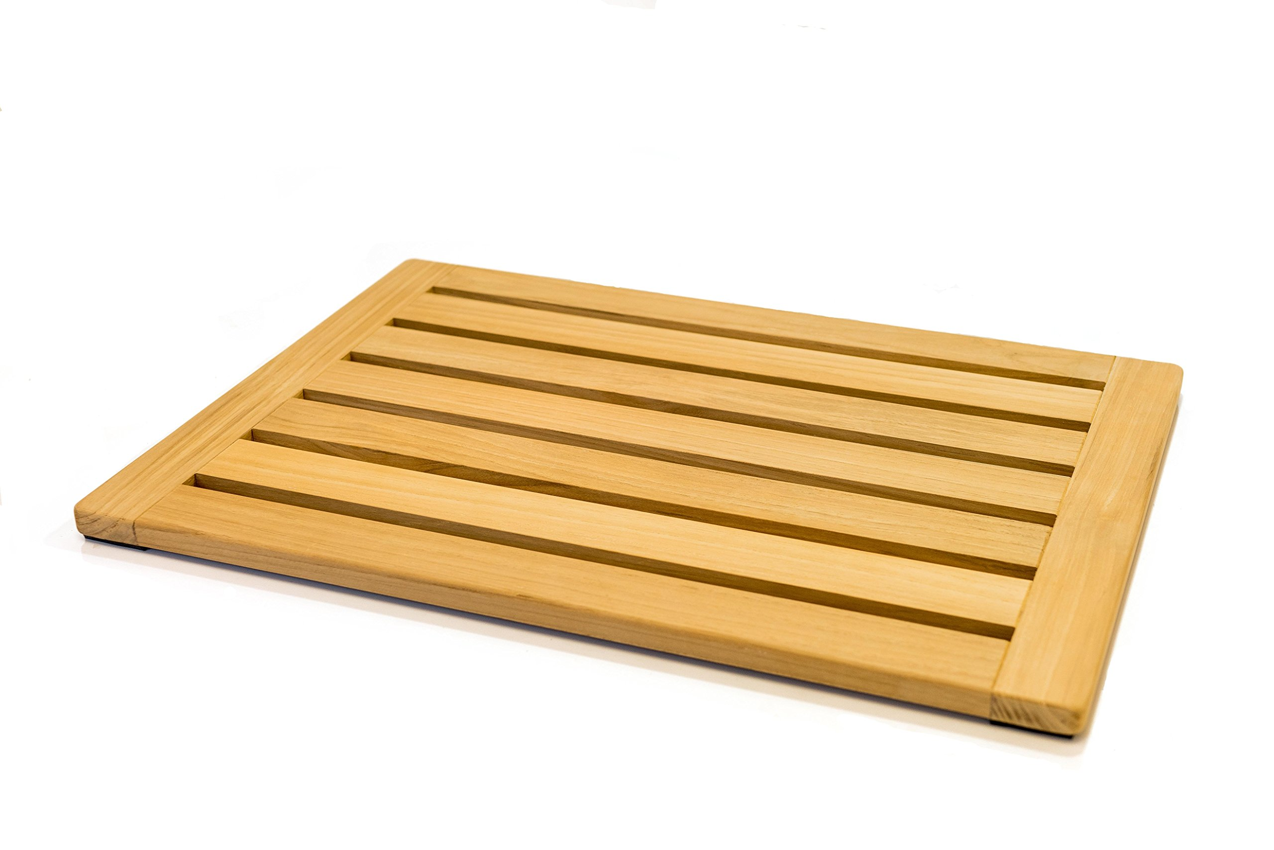 Natural Teak Wood Bath Mat Shower Mat by Home Fundamentals: Non-Slip Bathtub Sauna Spa Mat Sealed Nonslip 23in x 15.75in x 1in
