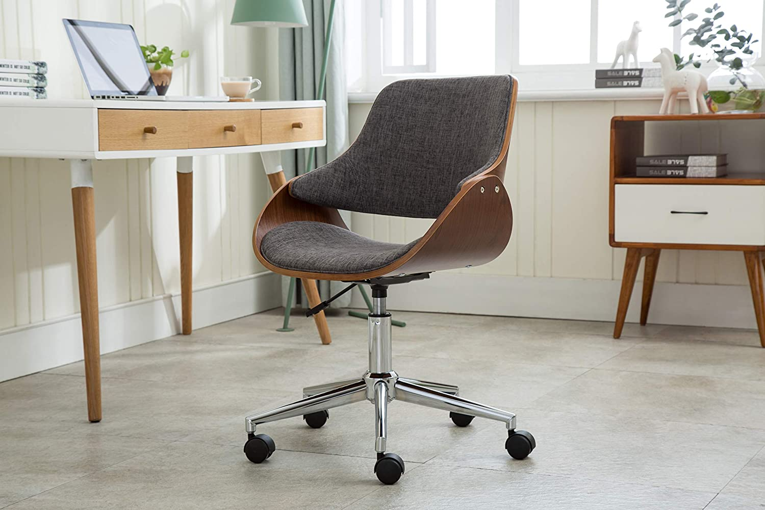 Amazon Com Porthos Home Tfc045b Gry Adjustable Height Mid Century Modern Office Desk Chair Fabric And Wood With Caster Wheels Easy Assembly One Size Grey Furniture Decor