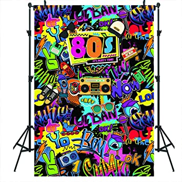 Mocsicka Hip Pop 80s Photography Backdrop 80s Graffiti Photo Background Vinyl 7x5ft 80 Theme Party Banner Decorations Supplies
