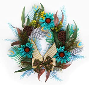Leelife Glitter Artificial Peacock Feather Christmas Wreath for Wall, Window and Front Door Decor