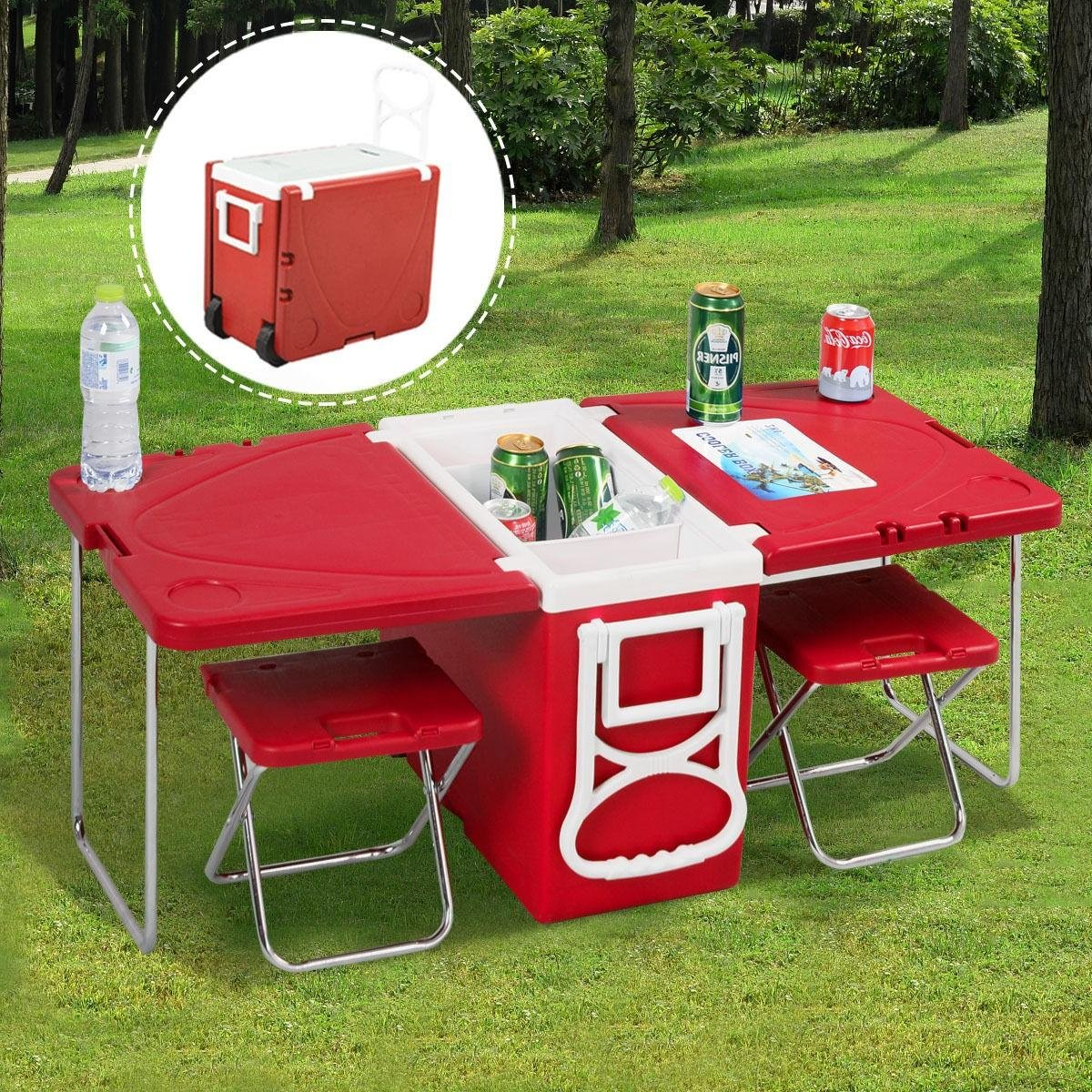 Amazon folding picnic tablelti function rolling cooler amazon folding picnic tablelti function rolling cooler picnic camping outdoor w table 2 chairs redolers with wheelspicnic cooler watchthetrailerfo