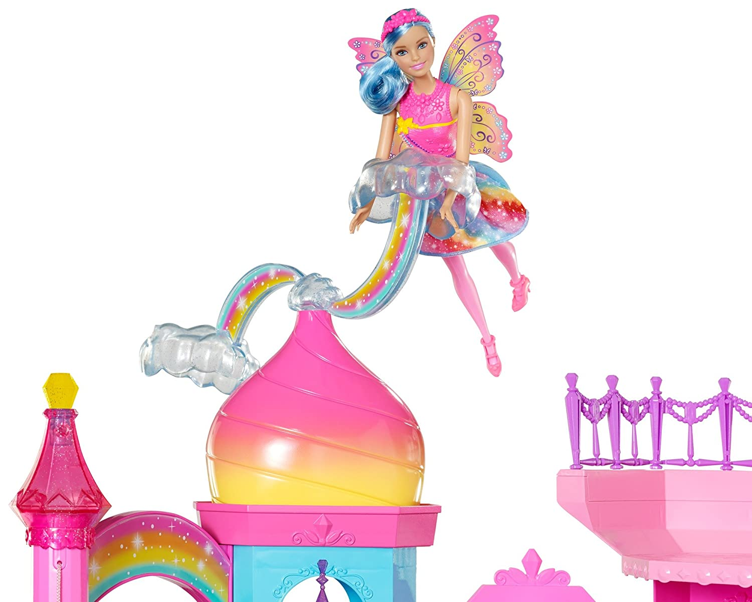 A fairy flies above this Barbie castle playset