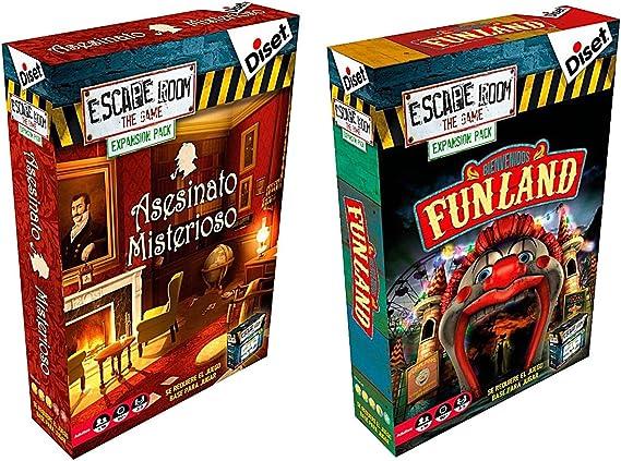 Pack 2 Expansiones para el juego Escape Room. Asesinato Misterioso y Bienvenidos a Funland. Edicion Española: Amazon.es: Juguetes y juegos