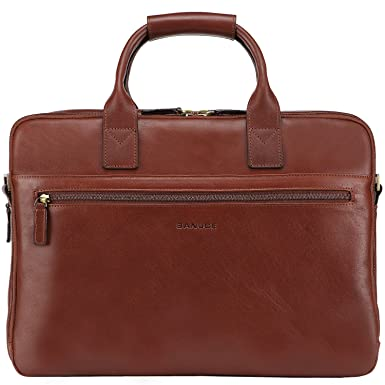 a66cbbd4cc98 Banuce Vintage Full Grain Italian Leather Briefcase for Men Business  Attache Case 14 quot  Laptop Tote