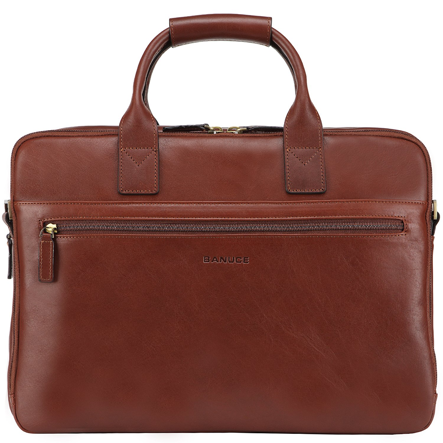 Banuce Italian Leather Tote Briefcase Business 15 inch Laptop Bag Color Brown