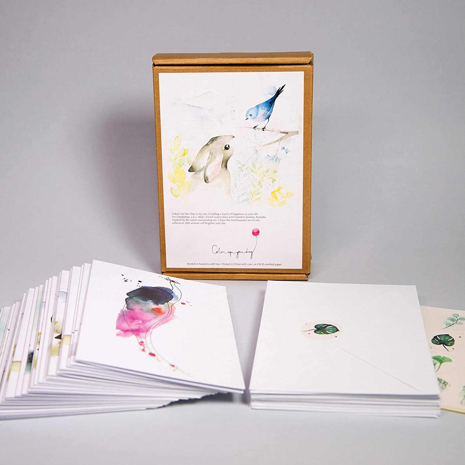 All Occasion Blank Thank you cards Cute Watercolor Wildlife assortment set by Blule Box of 24 Animals paintings Greeting Cards with Envelopes and Seal Stickers Appreciation Birthday Sympathy