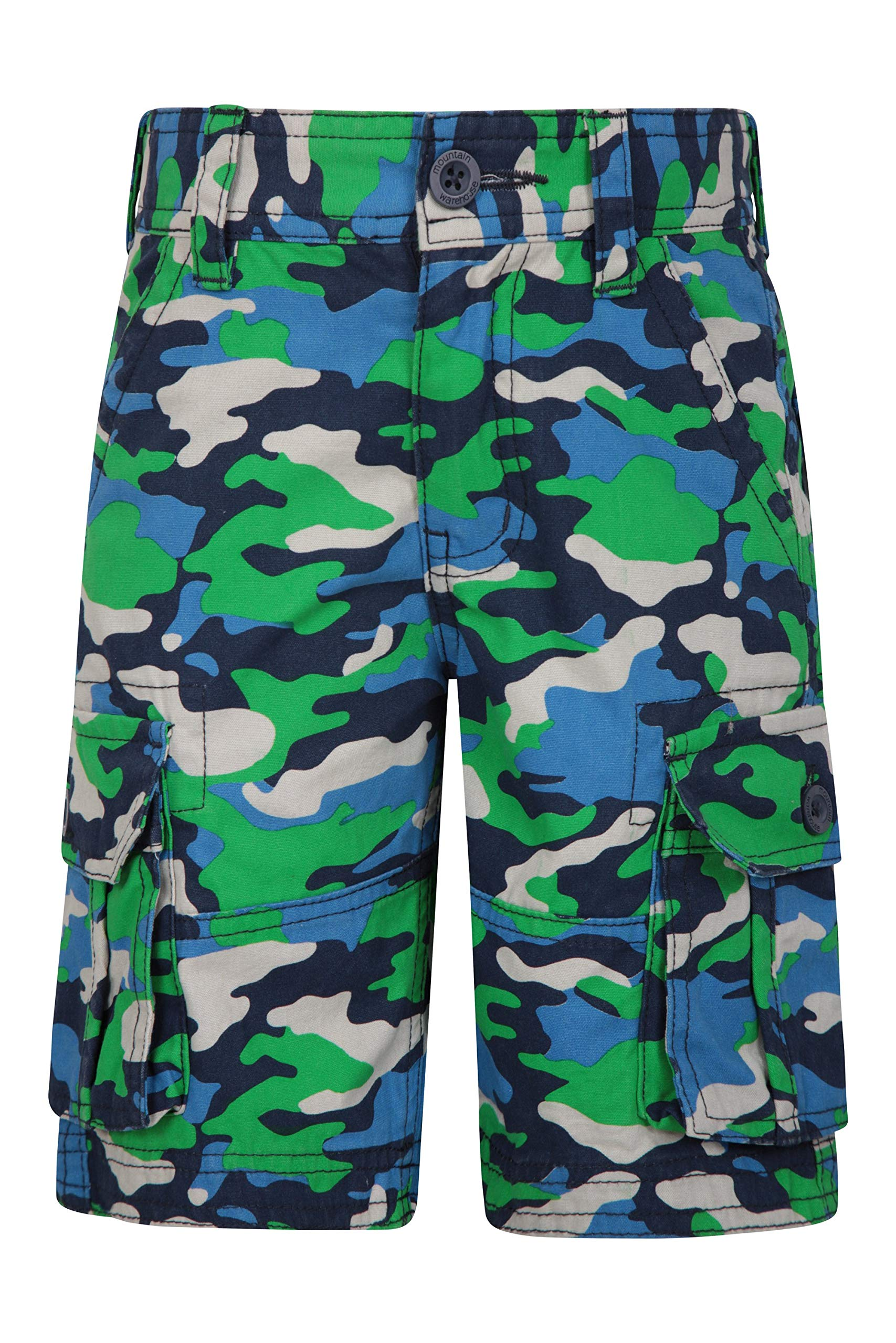 Mountain Warehouse Kids Camo Cargo Shorts - 100% Cotton Summer Pants Green 13 Years by Mountain Warehouse