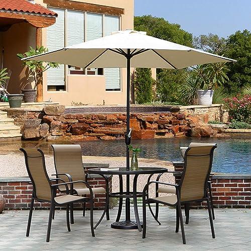 Grand patio 9 FT Aluminum Patio Umbrella, UV Protected Outdoor Umbrella with Easy Crank, Beige
