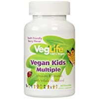 VegLife Vegan Kids Multiple   Natural Berry Flavor Chewable Multivitamin and Mineral...
