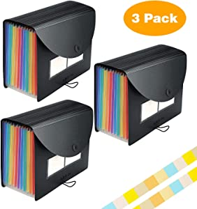 Accordian File Organizer, 12 Pockets Expanding File Folder with Expandable Cover/Portable Desktop A4 Letter Size File Box,Plastic Accordion Paper Document Receipt Organizer Colored Filing Box(3 Pack)