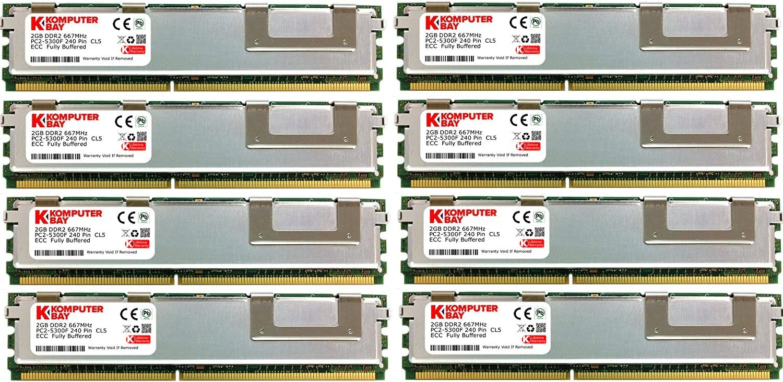 KOMPUTERBAY 16GB 8X2GB DDR2 667MHz PC2-5300 ECC FB Dual Rank 2Rx8 Fully BUFFERED Memory RAM