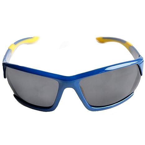 Lunettes de Soleil Polarisées pour le Sport pour Hommes Femmes avec Étui Rigide pour le Ski, le Cyclisme, la Pêche, le Golf et autres Activité Sportives (Bleu / Jaune / Lentilles Miroir)