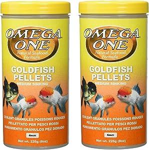 (2 Pack) Omega One Goldfish Medium Pellets 8-Ounces Each
