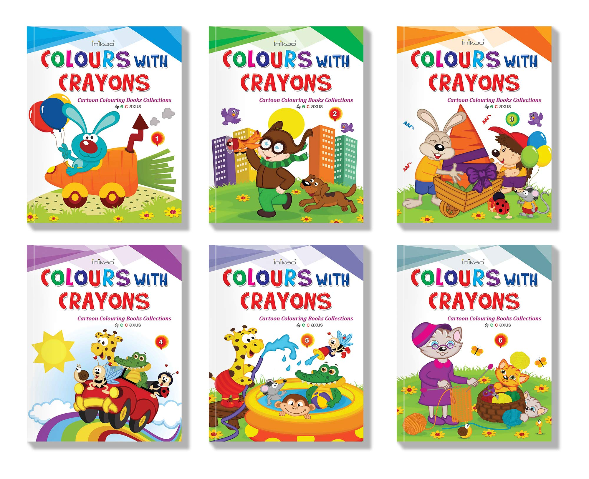 - Buy Cartoon Colouring Book Set Of 5 : Pack Of 5 Creative Crayon