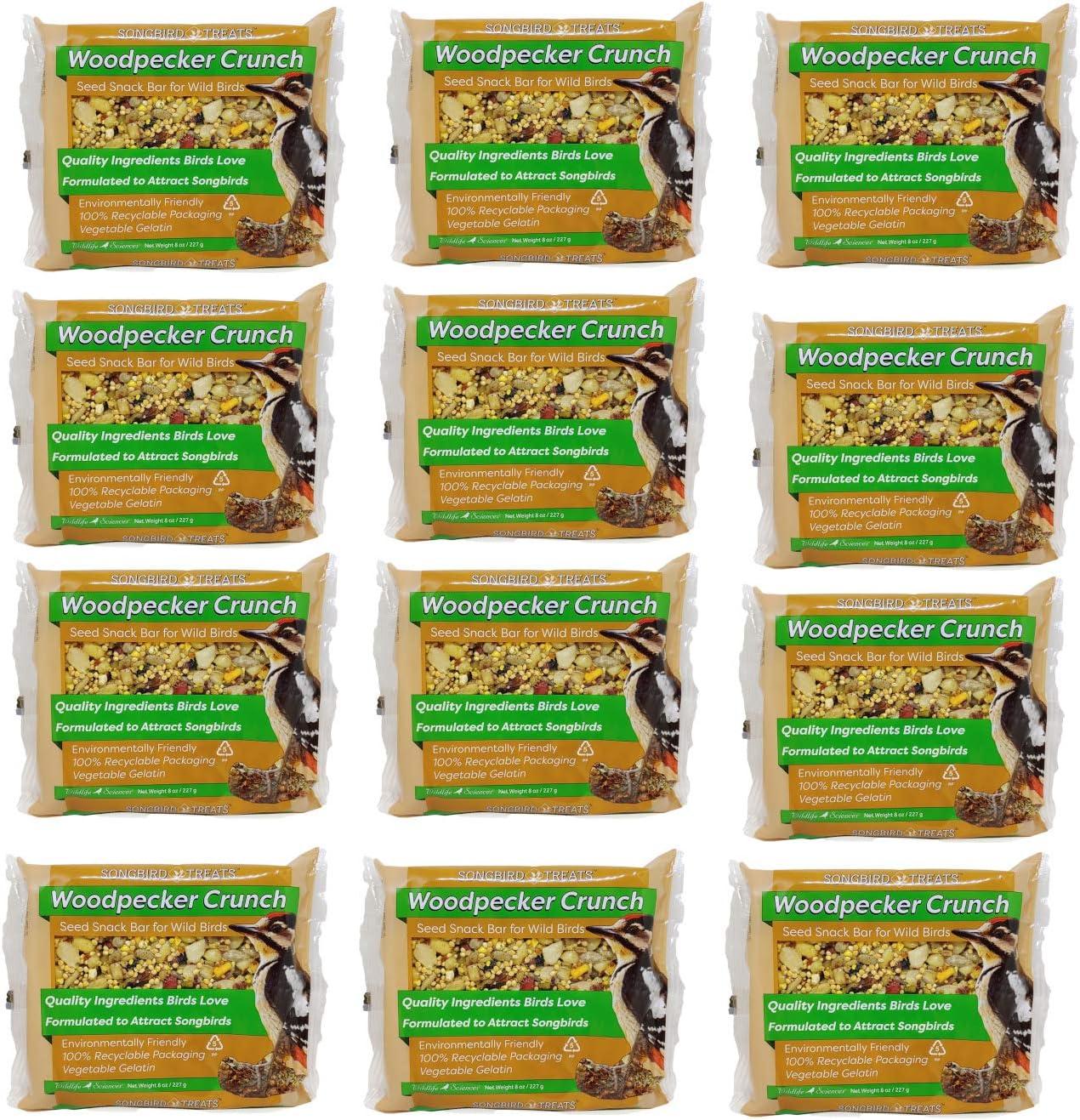 Songbird Treats Seed Bars | 12 Pack of 8 oz Bird Seed Cakes for Wild Birds (Woodpecker Crunch)
