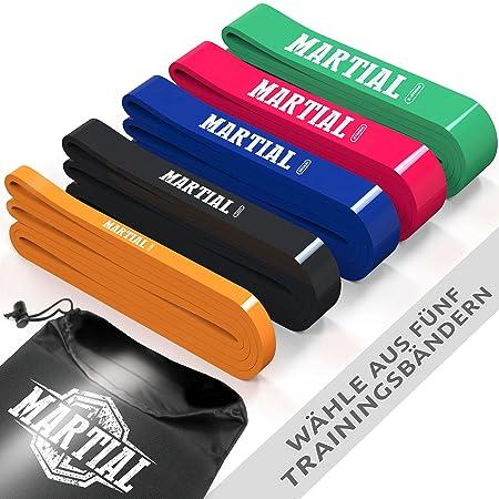 MARTIAL Resistance Bänder für optimales Training! Reißfeste & haltbare Trainingsbänder in 5 Stärken mit Beutel. Widerstandsbä