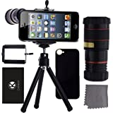 CamKix iPhone SE / 5S / 5 Camera Lens Kit - 8x Telephoto Lens / Mini Tripod / Universal Phone Holder / Hard Case