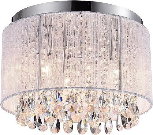Flush Mount Chandeliers Crystal Ceiling Light Fixtures White 3 Light Crystal Chandelier Lighting