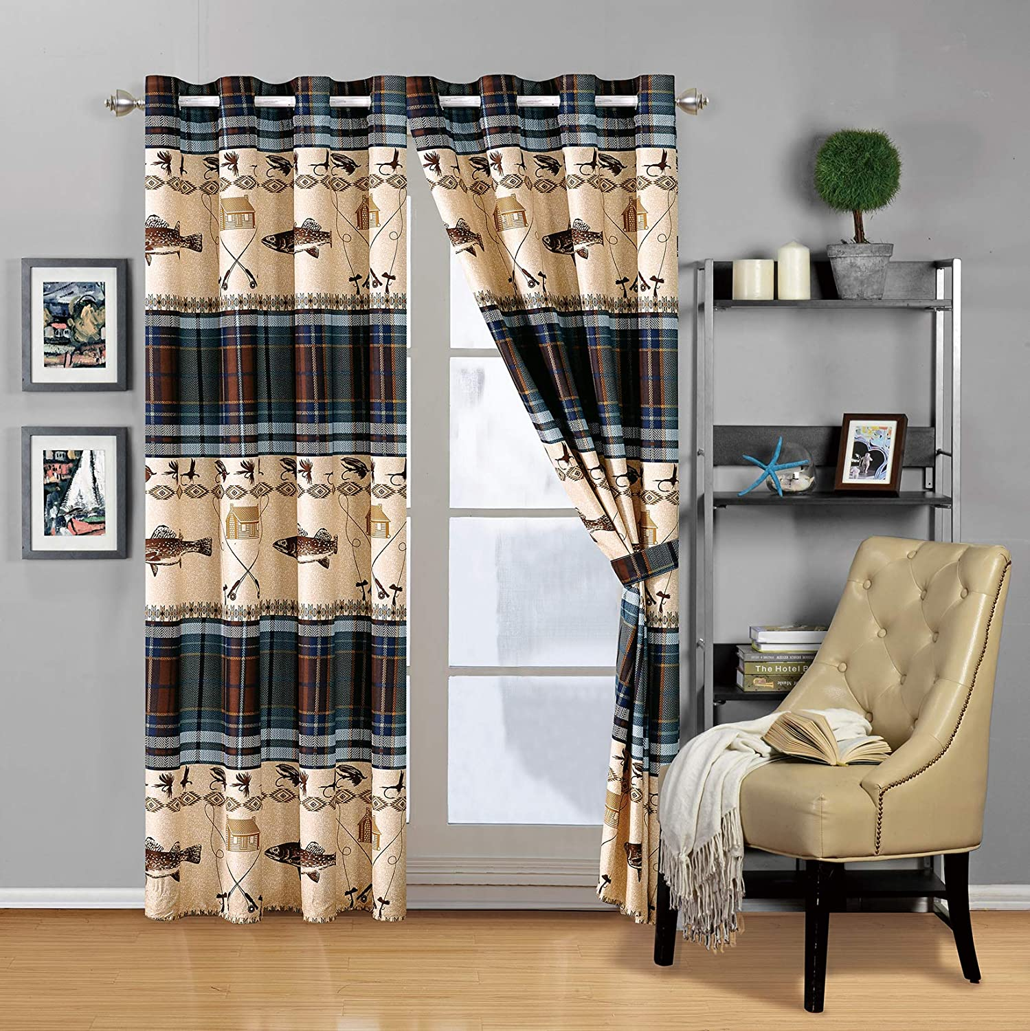 River Fly Fishing Themed Rustic Cabin Lodge Window Treatment Grommet Curtain Set with Fishing Rods Lure with Southwestern Tartan Check Plaid Tweed Patterns Blue Brown – (River Lodge, Curtains)