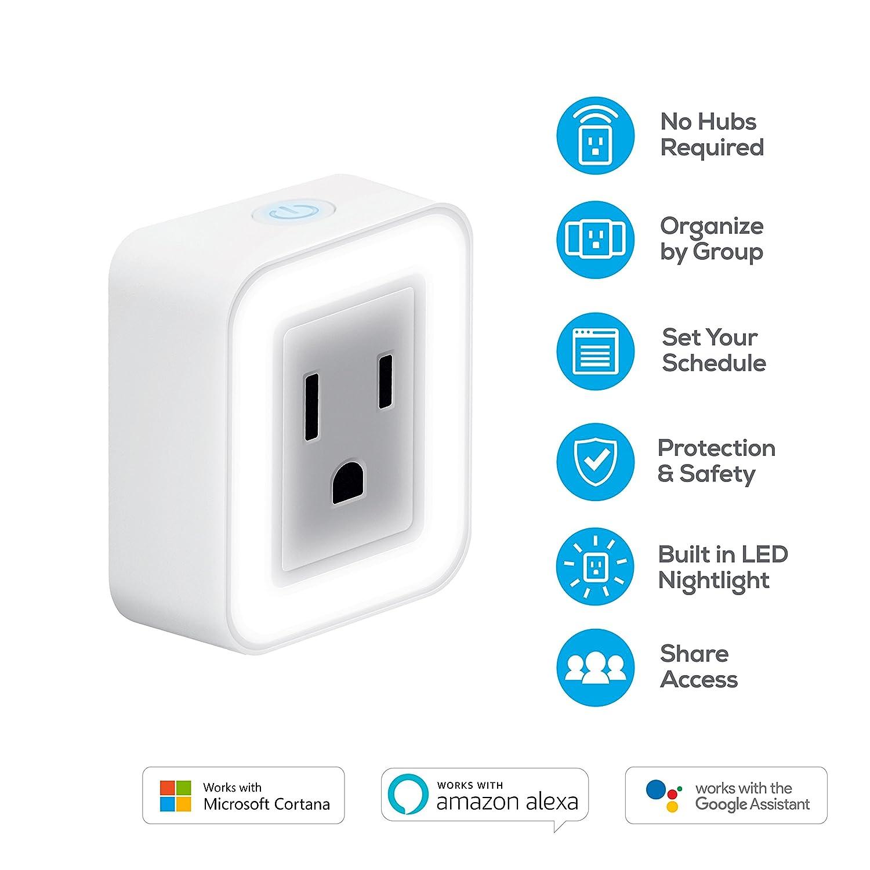 Geeni Spot Smart Wi-Fi Plug Google Assistant /& Microsoft Cortana White GN-WW104-199 Works with  Alexa No Hub Required