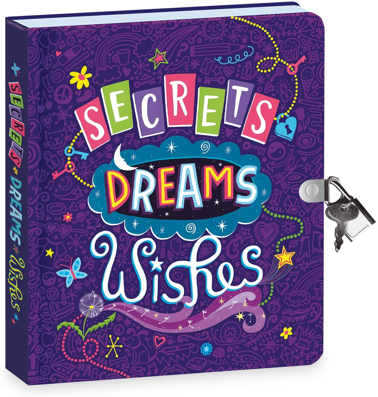 a diary book in violet glow in the dark, with lock and key for girls.