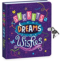 """Peaceable Kingdom Secrets, Dreams and Wishes Glow in The Dark 6.25"""" Lock and Key, Lined Page Diary for Kids"""