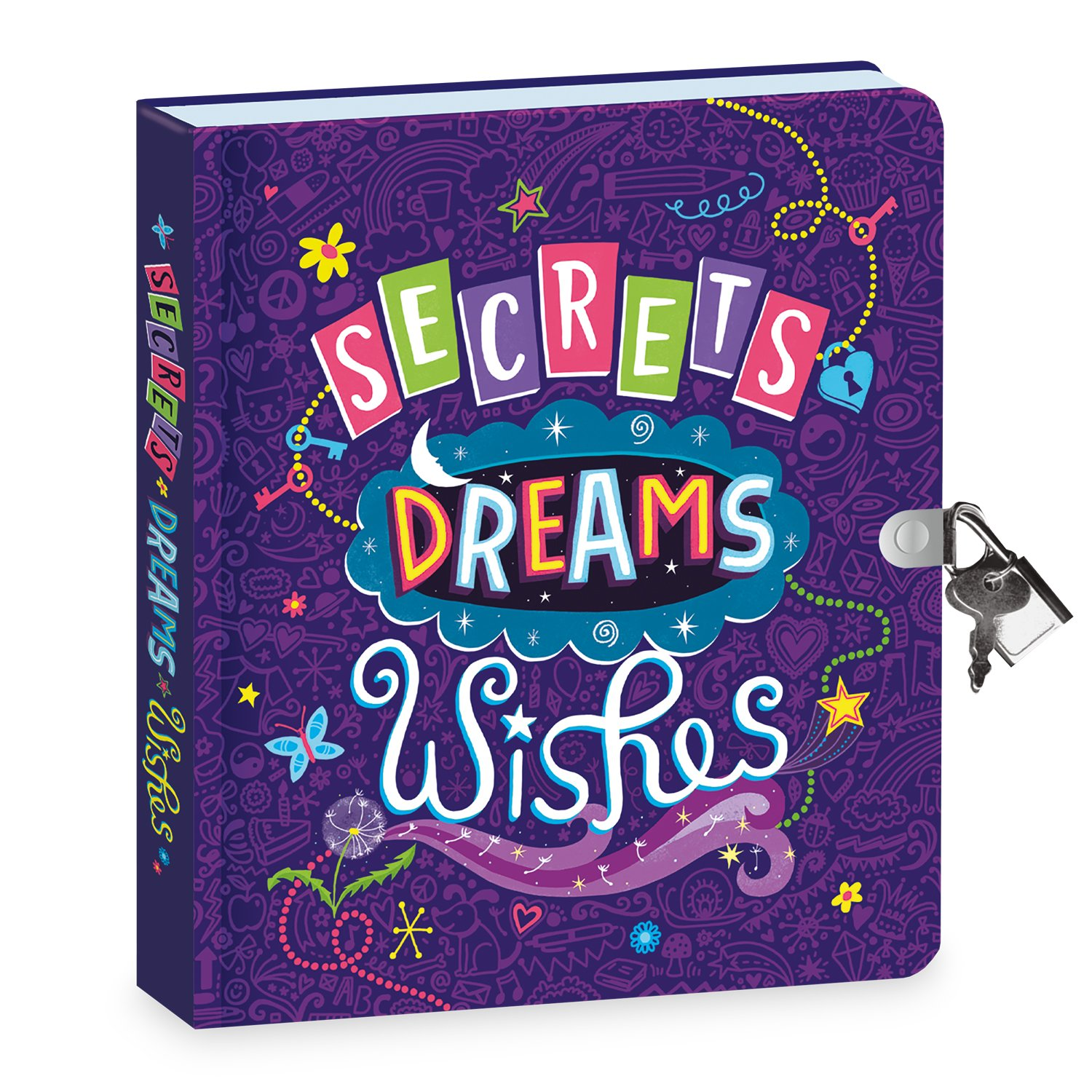 Peaceable Kingdom Secrets, Dreams and Wishes Glow in the Dark 6.25'' Lock and Key, Lined Page Diary for Kids by Peaceable Kingdom