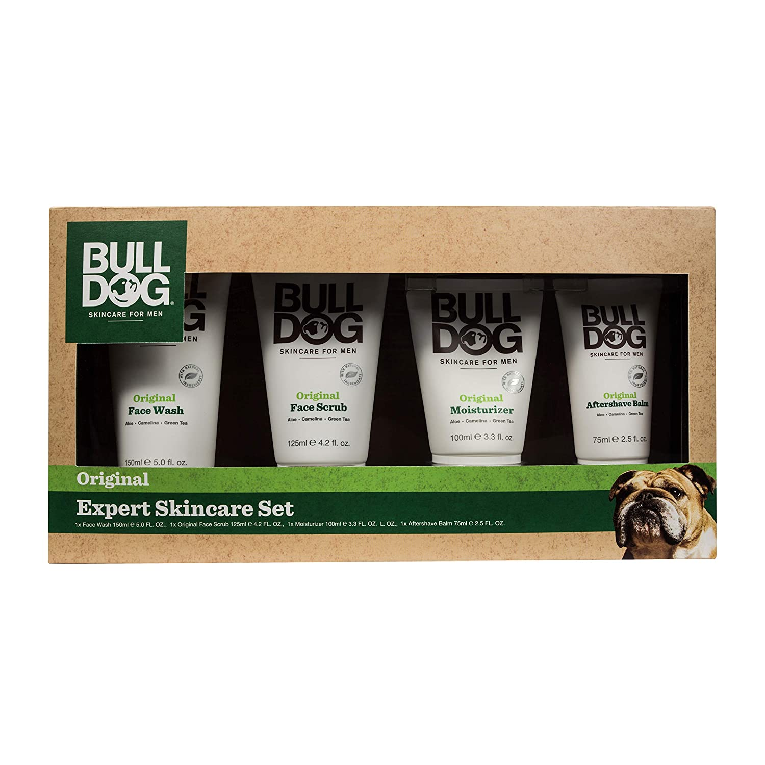 Bulldog Skincare Gift Set Including Shave gel, face Wash, Facial Moisturizer & Aftershave Balm Expert Skincare Set