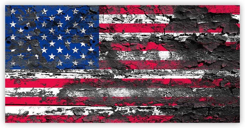 Decoración de pared con bandera de Estados Unidos envejecida, lienzo, pintura al óleo, retro, rústico, bandera nacional americana, para el hogar, sala de estar, dormitorio, cocina, decoración lista para colgar.: Amazon.es: Hogar