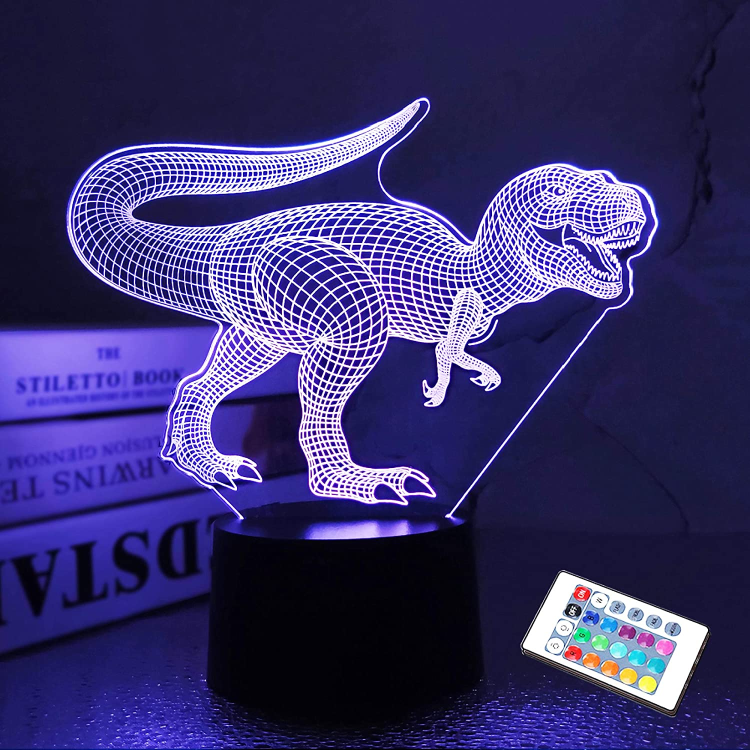 Dinosaur Gift, Dinosaur Night Light Jurassic 3D Illusion Lamp with 16 Colors Change Dimmable Room Decor Xmas Birthday Gifts for Kids Teens Nursery