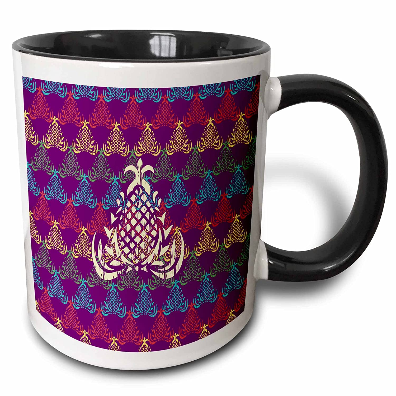 amazon com 3drose russ billington designs classical pineapple design in yellow over purple blue green background 15oz two tone black mug mug 219145 9 kitchen dining amazon com