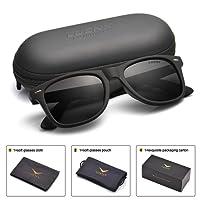 Mens Wayfarer Sunglasses Polarized Womens: UV 400 Protection,by LUENX with Case