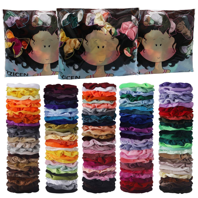 150 Pack Hair Scrunchies Velvet Satin Scrunchies Set Elastic Hair Bands Scrunchies Hair Ties Ropes Scrunchies for Women Girls Hair Accessories