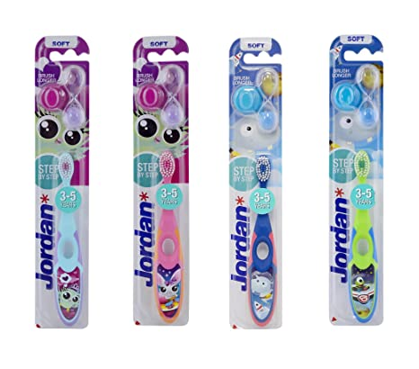 Jordan Step 3-5 years Toothbrush Designed with soft bristles Latest Design  with Holder & Timer BPA Free Imported Brush gentle to Teeth & Gems  Made in