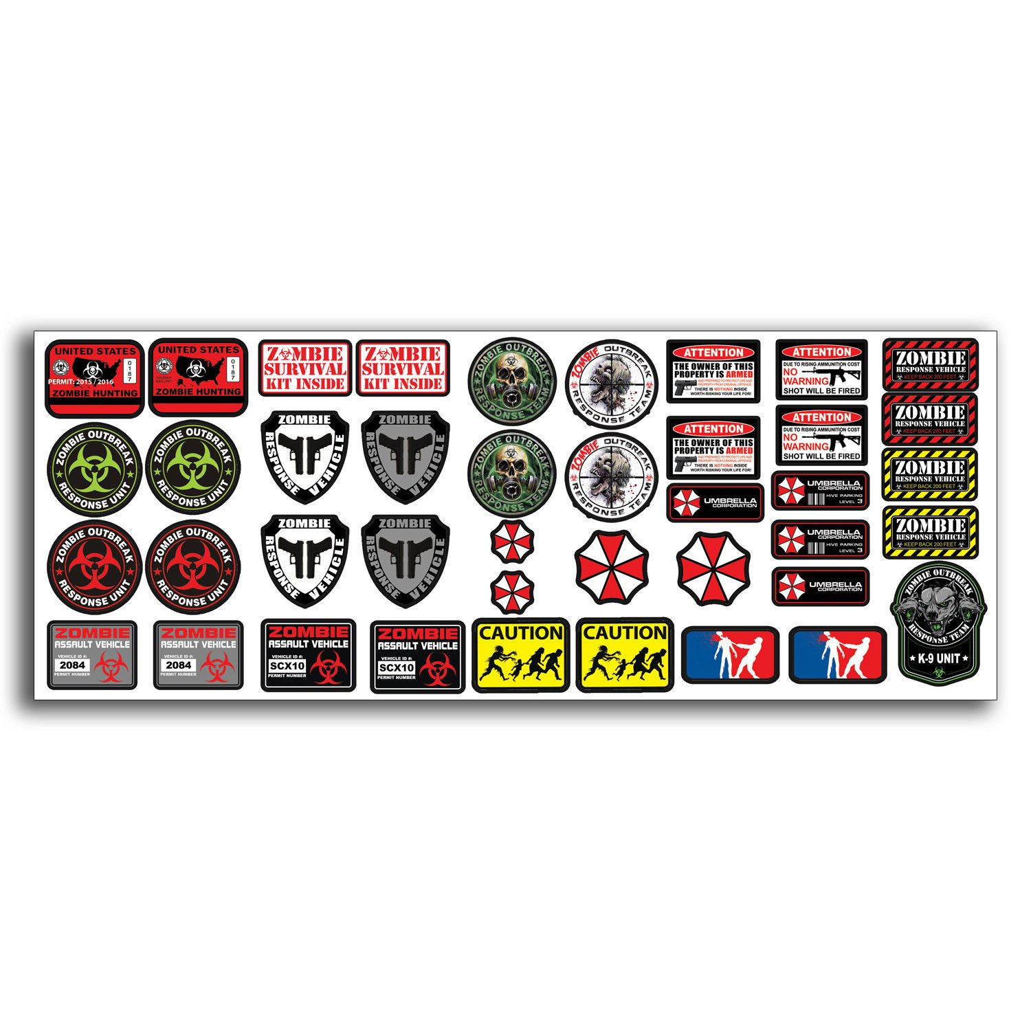 Amazon com r c scale zombie rc car decal graphic stickers sheet 1 10 truck crawler body oem computers accessories