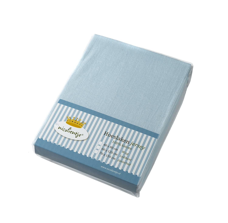 Nicolientje 700851 Jersey Spannbetttuch, 40x80 cm, blue